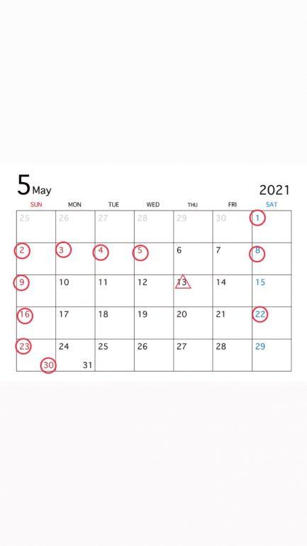 休日 5月1、13、22日